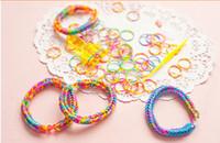 Wholesale Korea rainbow colored rubber band rope large bag hand woven rope bracelets handmade DIY lovers
