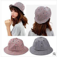 Cheap Korean striped cloth hat bucket hats for men and women fashion wild child outdoor hats wholesale