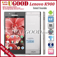Cheap Original Lenovo K900 Intel Z2580 2.0GHz Dual Core Mobile Cell Phones 2GB RAM 16GB ROM Android 4.2 OS 5.5'' 1080p FHD IPS 13.0MP