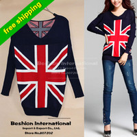 Wholesale 2014 Fashion Knit pullovers Sweater Women Jacket Union Jack British UK v neck winter warm Knitwear Flag plus size sweatersknit cardigan