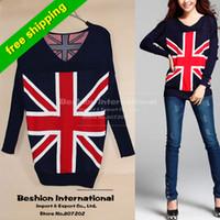 Wholesale 2014 Fashion Knit pullovers Sweater Women Jacket Union Jack British UK v neck winter warm Knitwear Flag plus size sweatersknit cardigan