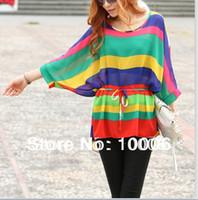 Cheap Fashion Jumper 1118 Korean Women Spring Short Colorful Batwing Sleeve TOPS T-Shirt Free Shipping Wholesale # 2516714