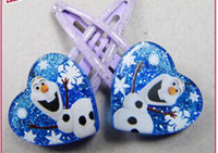hair clipper accessories - Frozen Anna Elsa Girl Hair Clipper Heart Shaped Crystal twinkle Headwear Female Hair Accessory Wafer Side knotted Clip Hairpin