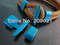 Cheap Finding - 50Set Turquoise Blue Metal T-Bar Hook Loop Clasp Buckle Toggle End Cap with Spacer for Leather Cord