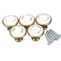 Wholesale 5Pcs Antibrass Cabinet Closet Door Drawer Ceramic Flower Pull Handles Knobs K5BO