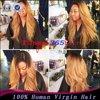 Wholesale Brazilian glueless blonde ombre lace front wig human hair b T27 ombre lace front wigs with bleached knots dark roots