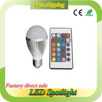 color changing led bulb - RGB LED Bulb RGB LED Bulb Light W W W E27 E14 B22 Remote RGB Color Change Spotlight Bridgelux Chip