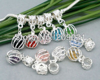 filigree findings - 100 Mixed Crystal Quartz Filigree Cage Dangle Beads Fits Charm Bracelet Finding
