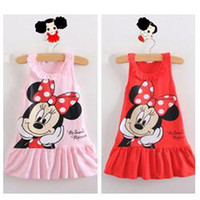 Cheap Wholesale-Retail, 2014 Kids girls clothes cute Mickey Mouse Minnie Dress, 2 colors of red and pink mini Clothes, free shipping AQZ008