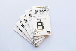 4 in 1 Nano Micro Sim Card Adapter , Noosy sim adapter white for iPhone 4 4s Iphone 5 5s (500pcs) 100set lot, Cheap