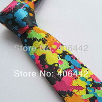 "Cheap Wholesale-2"" polyester SLIM tie Black With Red Yellow Blue oil painting print NARROW TIES SKINNY tie Fashion Necktie to match dress shirts"
