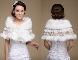 Wholesale New Fashion Warm Faux Fur Ivory Lace Bridal Bolero Wedding Shawl Jacket Women Winter Wraps cape stole cm