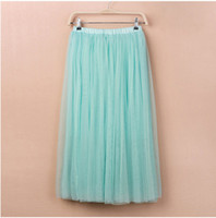 Wholesale Layers Colors Women Tulle Skirts Ankle Length Swing Puffy Skater Skirt Maxi Ladies Gowns Summer Saias Femininas Jupe
