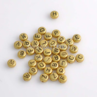 Wholesale Accessories Diy Flat Round acrylic Spacer Beads Mixed Alphabet Letter Gold Beads mm X0008