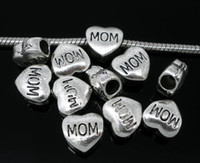 Wholesale Antique Silver Tone quot MOM quot Heart Charm Beads Fits European Charm Bracelet x11mm Mother s Day Gift