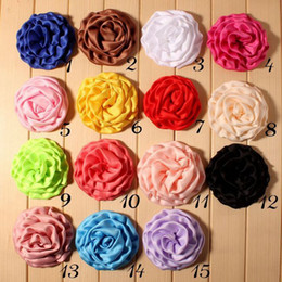 30pcs 3.2'' Fashion Lace Rose Flowers Fabric Frilly Chiffon Flower Children Hair Flower Accessories Flower For Baby Girl Headband Headwear