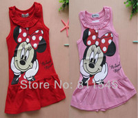 Cheap Wholesale-Fashion 2014 Summer Casual Cartoon Baby Girl Dress Vestidos Infantis Cute Toddler Clothing Wear Children Outerwear Kids Clothes