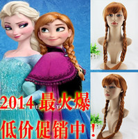 Wholesale Hot selling New Cartoon Movie Frozen Snow Adult and children aged years Queen Anna Elsa Wig Long Braid Ponytail Cosplay Anime Wig