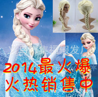 Wholesale Hot selling Cartoon Movie Frozen Snow Adult and children aged years Queen Anna Elsa Wig Long Braid Ponytail Cosplay Anime Wig