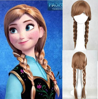 Wholesale New Frozen most popular cartoon girl Hair Wigs children Cosplay Wigs Elsa Anna princess white fluffy long hair single plait ponytail