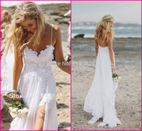 Cheap Stunning Vintage Boho White Beach Low Back Wedding Dresses Gowns Chiffon Dreamy Spaghtti Straps Slit Short Lace in Front