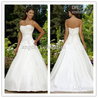 Wholesale corset Wedding Dresses cheap Custom Made sexy modest A line sweetheart neck strapless floor length satin beaded pleated bridal gowns ZZ
