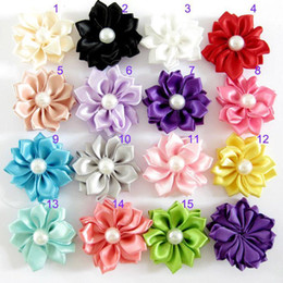 Wholesale Satin Ribbon Multilayers Fabric Flowers For headbands Kid DIY Christmas Hair Styling Accessories