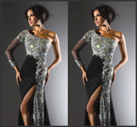 Wholesale 2014 Gorgeous Black Prom Dresses Long Sleeve Beaded Rhinestone Sequined Crystal Ruffles Sheath One Shoulder High Split Party Gowns