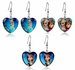 Wholesale Hot Sale Earrings Elsa Anna Earrings Baby Girl Kids Party Princess Earrings Children Holiday Gift Heart Pendant Earrings B001