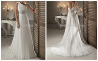 Cheap 2014 New Wedding Dress One Shoulder Straight Neckline Beads Ruffle Empire Chiffon A-Line Bridal Gown