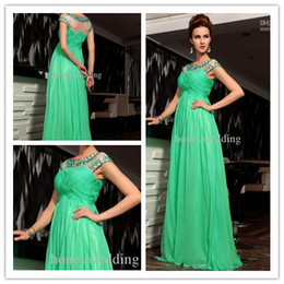 Wholesale Hot Custom Made Prom Dresses Chiffon Beads Ruffle Floor Length Evening gowns Free Shopping