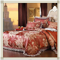 Wholesale Red Gold Jacquard Bedding Modal Fabric Bedclothes Pieces Quilt Comforter Cover Bedspread Set Tribute Silk Bedding