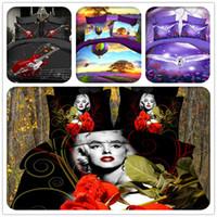 Cheap 4 Pieces 3D Duvet Cover Set Queen King Size 3D Sheets Rose Marilyn Monroe Polyester Cotton 3D Bedding Sets