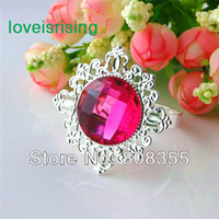 Cheap Free DHL Shipping-Lowest price-100pcs Fuchsia Gem Napkin Rings Wedding Bridal Shower Favour
