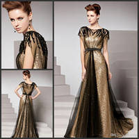 Wholesale 2014 Bling Sparkling Gold Sequins Prom Dresses Short Sleeve Crew Neck Black Tulle Sweep Train A Line Party Gowns Custom Made P69