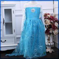 Cheap Frozen elsa anna 2014 Children Christmas Baby Girl Princess long Sleeve party Birthday lace Tutu Sequins Dresses Via E-packet(1701020)