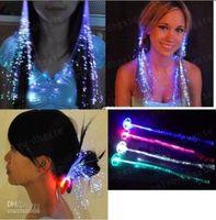Wholesale LLFA402 Multicolor LED Flash Light Optical Fibers Braids Luminous Hair Bars Party Birthdays KTV Concerts Hair Creative Accessories