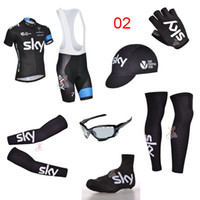 Wholesale Sky Team Bike Wear Set Short Sleeve Road Cycling Jersey Summer Outdoor Bicycle Clothing With Gloves Arms Sunglass Hat Leg Warmer Shoes Cover