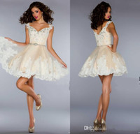 Cheap Wholesale - Cheap 2014 Homecoming Dresses Sexy Cheap Spaghetti V Neck Applique Lace Princess Mini Short A Line Cocktail Prom Dresses