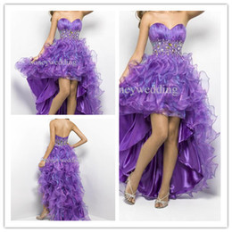 Wholesale 2014 High Low Prom Dresses party dress orchid peacock organza sweetheart beaded Evening Dresses