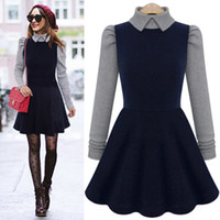 Wholesale Brand New Doll Collar Splice Dress Knitted Long Sleeve Hit Color Navy Blue Autumn Top Mini Street Style Euro Ladies Dresses MO193
