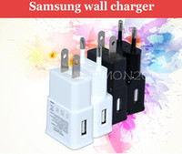 Wholesale EU US USB Wall Charger V A Travel AC Wall Charger Adapter for Samsung galaxy note N7000 I9220 N7100 S4 S5 I9600 White Color