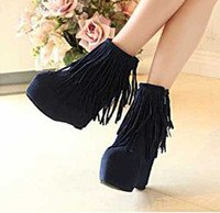 Wholesale 2014 fashion women ankle boots platform high heel boots fringe wedges boots lace up spring tassels shoes lady snow boots S0582