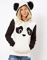 Wholesale 2014 New Fashion Spring Autumn Winter Women Hippie Color Block Cute Panda Printed Fleece Hoodies Women Sweatshirt with Hood