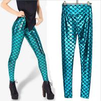 Cheap 2014 new mermaid tall waist light imitation leather leggings Nightclub stage scales corrugated women's fashion mermaid light sport leggings