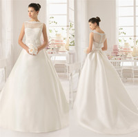 baking training - Vintage Ball Gown Lace Wedding Dresses With Bateau Neckline Sleeveless Bow Sash Covered Button Bake Sweep Train Satin Bridal Gowns