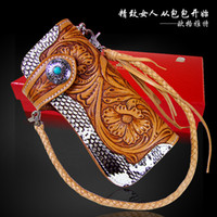 Women snakeskin - Hong Kong OLG YAT Handmade leather carving wallet Snakeskin wallet women long style handbag Italian pure leather wallet leather Primary
