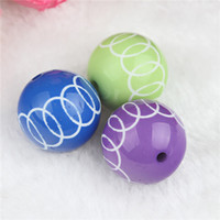acrylic striped beads - 20mm Chunky Beads Round Striped Beads Three colors beads for DIY Beaded Necklaces Loose Beads Jewelry
