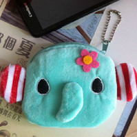 Cheap Wholesale-6PCS Mini NEW Elephant Plush Coin Purse Wallet BAG Pouch Handbag Case ; Storage BAG Pendant Case BAG Pouch Coin Pendant Pouch