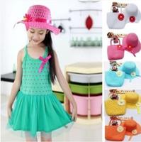 Wholesale 9 Items Girl Straw Hat Beach Cap Summer Sun Protection Chlidren Lace Decorated Straw Handbag Set DVK